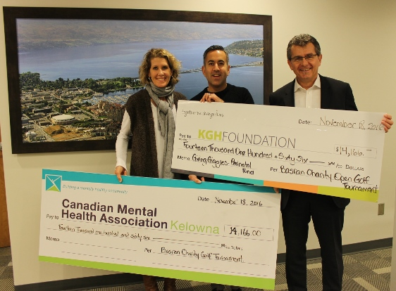 Pictured from left:  Shelagh Turner, Executive Director CMHA-Kelowna; Kelowna Mayor, Colin Basran; Doug Rankmore, CEO KGH Foundation